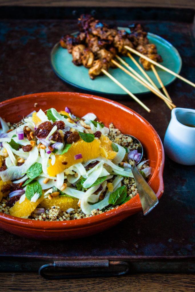 quinoa salade venkel sinaasappel kip
